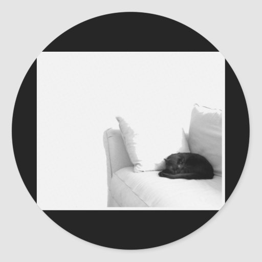 Sleeping Grey Cat on White Sofa Classic Round Sticker