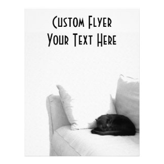 Sleeping Grey Cat on White Sofa Flyer
