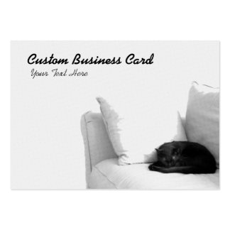Sleeping Grey Cat on White Sofa Large Business Card