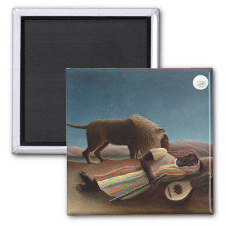 Sleeping Gypsy by Rousseau 2 Inch Square Magnet