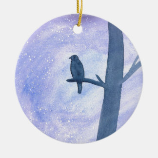 Sleeping Hawk Ceramic Ornament