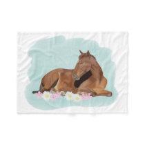 Sleeping Horse Fleece Blanket