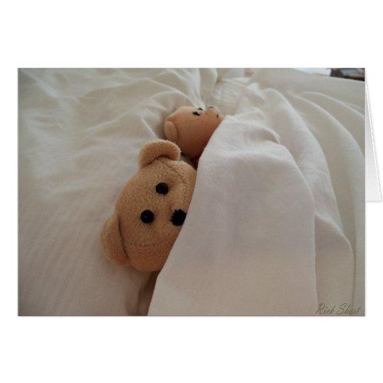 Sleeping in late Teddy Bear Vacation greeting card