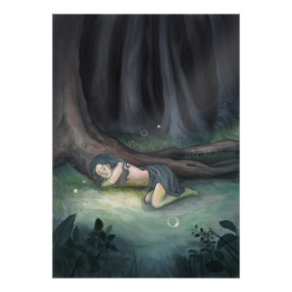 Sleeping in the Woods - Girl in Forest Painting Poster