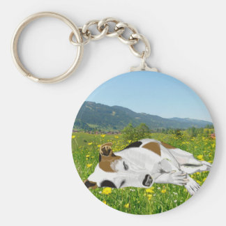 Sleeping Jack Russell in a Flower Meadow Keychain