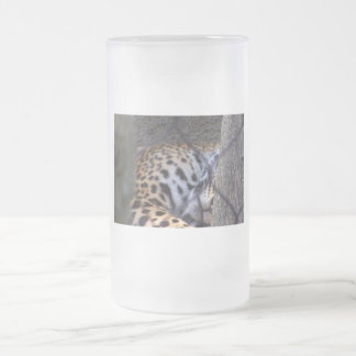 Sleeping jaguar fence tree abstract photograph frosted glass beer mug