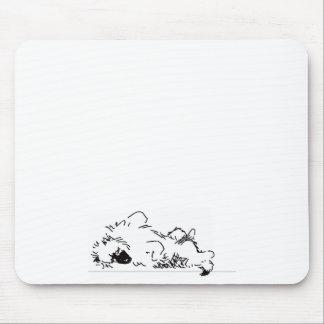 sleeping keeshond mouse pad