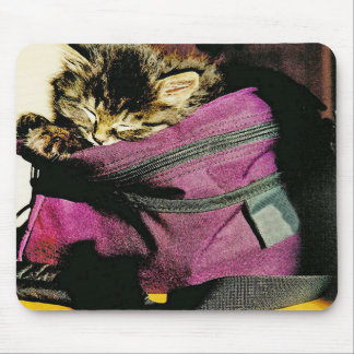 Sleeping Kitten In A Burgundy Purse Mouse Pad