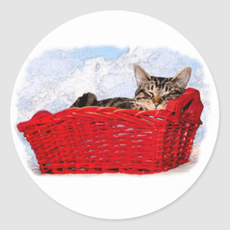Sleeping Kitten In Bright Red Basket Classic Round Sticker