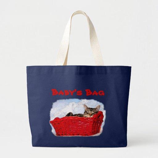 Sleeping Kitten In Bright Red Basket Large Tote Bag
