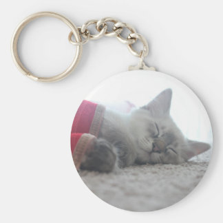 Sleeping Kitten Keychain