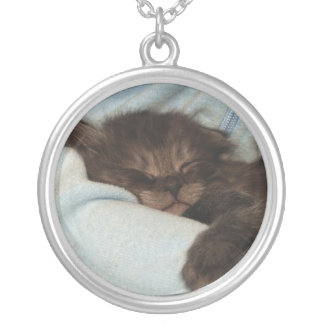 Sleeping Kitten Silver Plated Necklace
