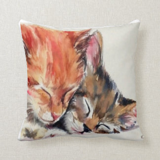 Sleeping Kittens Throw Pillow by American MoJo