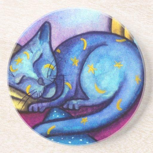 Sleeping Kitty Cat Moon and Stars Cat Drink Coaster