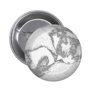 Sleeping Kitty Outline 2 Inch Round Button