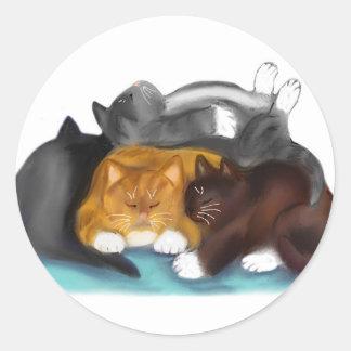 Sleeping Kitty Pile Round Sticker