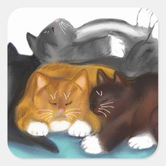 Sleeping Kitty Pile Square Sticker