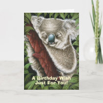 Sleeping Koala Birthday Card
