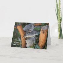 Sleeping Koala, Retirement Congratulations, cute Card