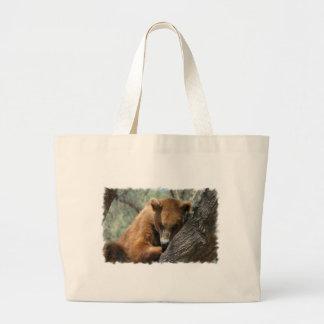 Sleeping Kodiak Bear  Budget Tote Canvas Bag