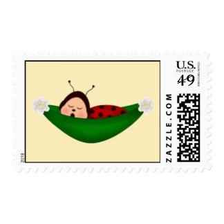 Sleeping ladybug postage stamp