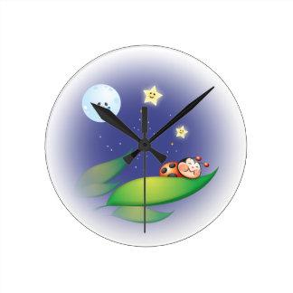 Sleeping Ladybug Wall Clock