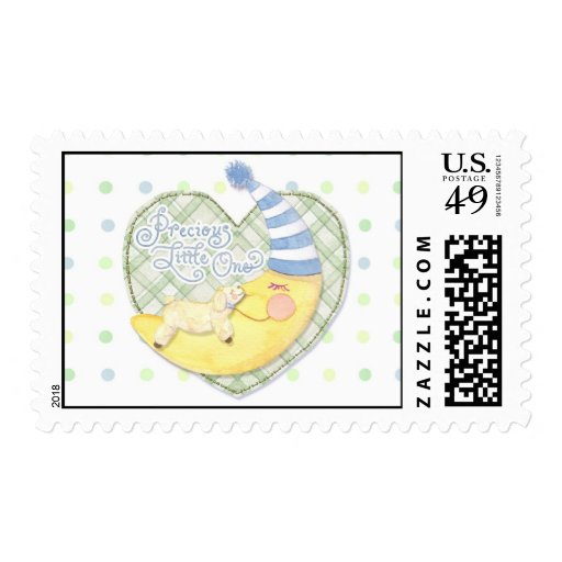 Sleeping Lamb and Man in the Moon Baby Postage