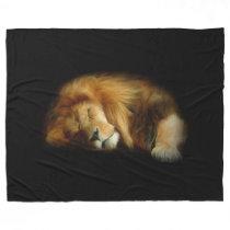 Sleeping Lion Large Fleece Blanket
