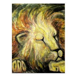 Sleeping Lion Oil Painting Postcard