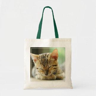 Sleeping Little Baby Kitty Tote Bag