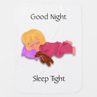 Sleeping Little Girl with Teddy Bear Swaddle Blanket