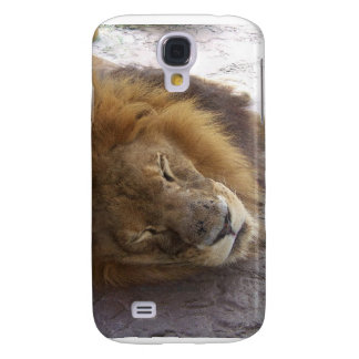 Sleeping male lion head view photograph samsung galaxy s4 cover