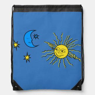 Sleeping moon and smiling sun drawstring backpack