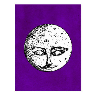 Sleeping Moon on Intense Purple Postcard