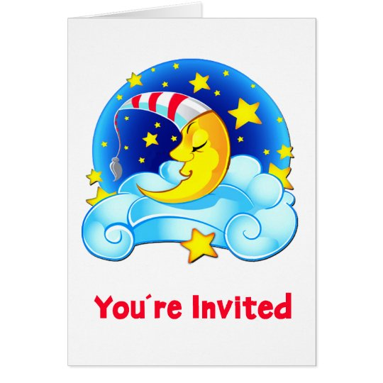Sleeping Moon with Night Cap Invited Card