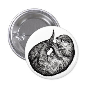 sleeping more otter 1 inch round button