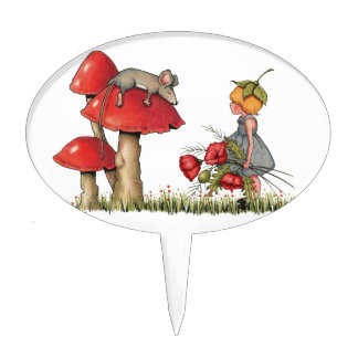 Sleeping Mouse, Toadstool, Child with Poppies Cake Pick