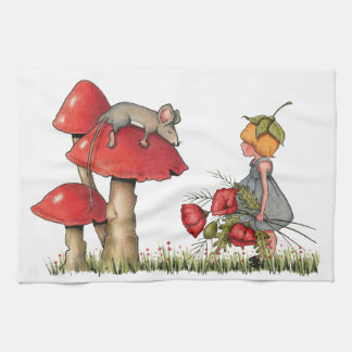 Sleeping Mouse, Toadstool, Child with Poppies Hand Towel