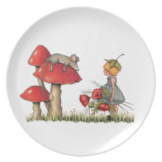 Sleeping Mouse, Toadstool, Child with Poppies Party Plate