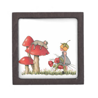 Sleeping Mouse, Toadstool, Child with Poppies Premium Trinket Boxes