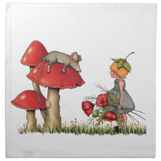 Sleeping Mouse, Toadstool, Child with Poppies Printed Napkin