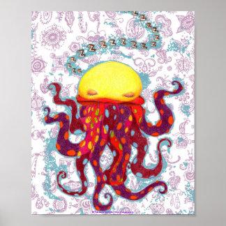 Sleeping Octopus Poster or Fine Art Print