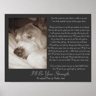 sleeping old akita dog animal sympathy poem poster