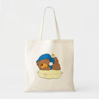 sleeping on pillow cute teddy bear design budget tote bag