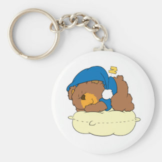 sleeping on pillow cute teddy bear design keychain