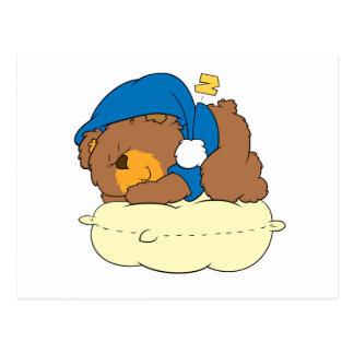 sleeping on pillow cute teddy bear design postcard