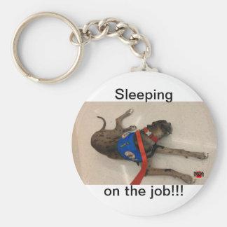 Sleeping on the job basic round button keychain
