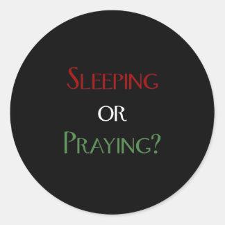 Sleeping or praying - islamic muslim prayer print round sticker