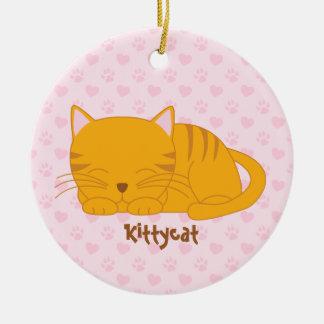 Sleeping Orange Tabby Cat Ceramic Ornament