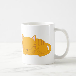 Sleeping Orange Tabby Cat Coffee Mug